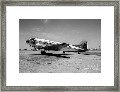 Tans-texas Air Douglas Dc-3 Framed Print by Wernher Krutein