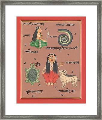 Tantra Yantra Artwork Miniature Painting India Vedic Artwork Goddess Santoshi Ma Framed Print by A K Mundhra