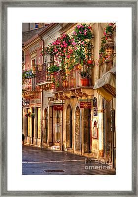 Taormina Balcony Framed Print by Michael Berry