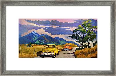 Taos Joy Ride With Yellow And Orange Trucks Framed Print