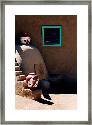 Framed Print featuring the photograph Taos New Mexico Pottery by Jacqueline M Lewis