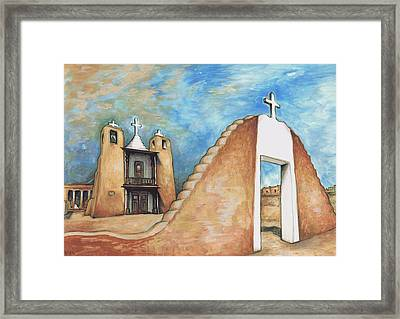 Taos Pueblo New Mexico - Watercolor Art Framed Print