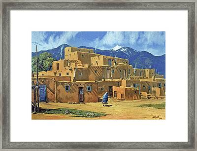 Taos Pueblo Framed Print by Randy Follis