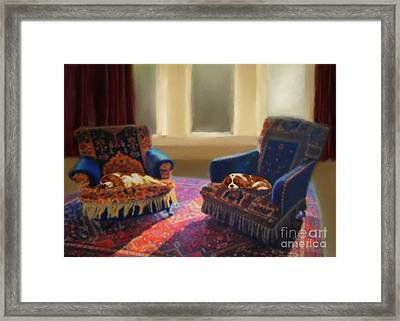 Tapestry Chairs Daydreaming Cavaliers Framed Print by Magna Carta