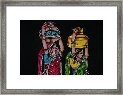 Tapestry Depicting Indian Girls Framed Print by Keren Su