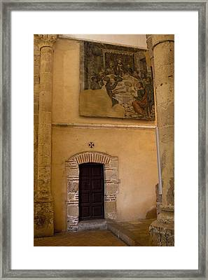 Tapestry Wall At Church Of The True Cross Framed Print by Lorraine Devon Wilke