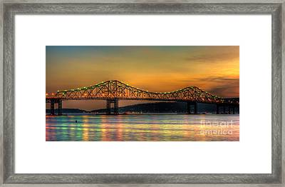 Tappan Zee Bridge Twilight Iv Panoramic Framed Print by Clarence Holmes