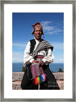 Taquile Islander Framed Print by James Brunker
