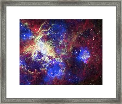Tarantula Nebula Framed Print by X-ray: Nasa/cxc/psu/l.townsley Et Al.; Optical: Nasa/stsci; Infrared: Nasa/jpl/psu/l.townsley Et Al.