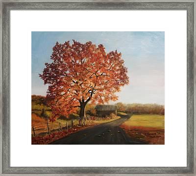 Framed Print featuring the painting Taras Golden Tree by Sandra Nardone