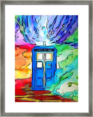 Tardis Illustration Edition Framed Print by Justin Moore