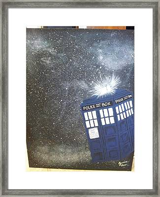 Tardis In Space Framed Print by Jessica Vass