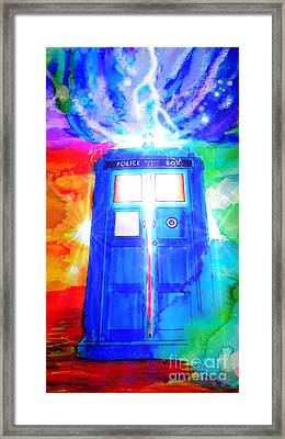 Tardis Framed Print by Justin Moore