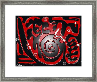 Target Practice. Red On Black Framed Print by Cathy Peterson
