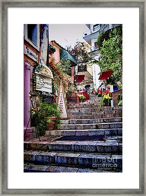 Taormina Steps Sicily Framed Print by David Smith