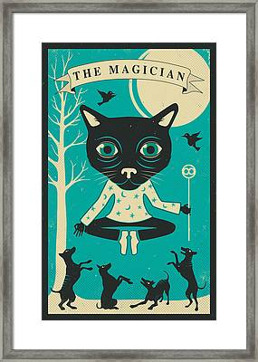 Tarot Card Cat The Magician Framed Print by Jazzberry Blue