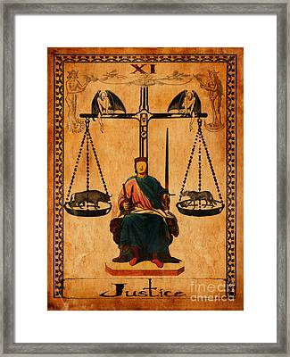 Tarot Card Justice Framed Print by Cinema Photography