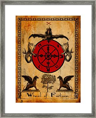 Tarot Card Wheel Of Fortune Framed Print by Cinema Photography
