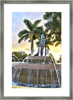 Tarpon Fountain In Cape Coral Florida Framed Print by Timothy Lowry