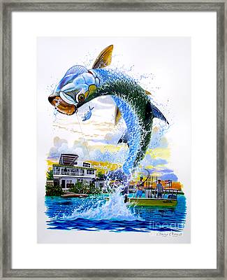 Tarpon Leap Framed Print by Carey Chen