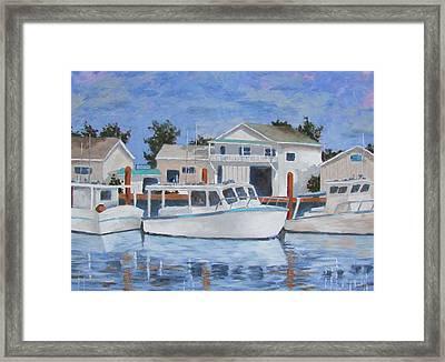 Framed Print featuring the painting Tarpon Springs Boats Iv by Tony Caviston