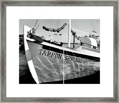Tarpon Springs Spongeboat Black And White Framed Print by Benjamin Yeager