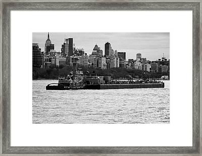 Tarpon Tugboat Pushes The Hatteras Barge Along The Hudson River New York City Framed Print