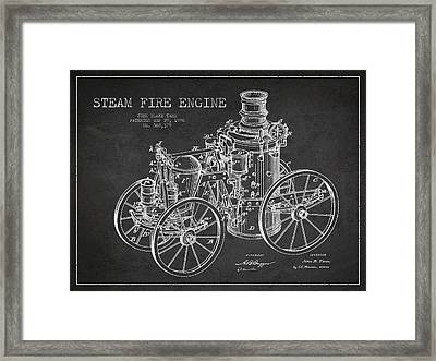 Tarr Steam Fire Engine Patent Drawing From 1896 - Dark Framed Print by Aged Pixel