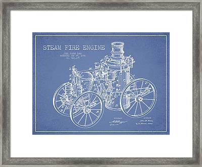 Tarr Steam Fire Engine Patent Drawing From 1896 - Light Blue Framed Print by Aged Pixel