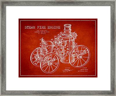 Tarr Steam Fire Engine Patent Drawing From 1896 - Red Framed Print by Aged Pixel
