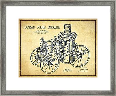 Tarr Steam Fire Engine Patent Drawing From 1896 - Vintage Framed Print by Aged Pixel