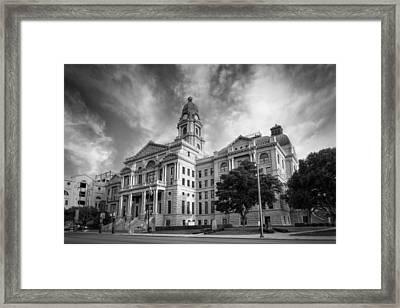 Tarrant County Courthouse Bw Framed Print