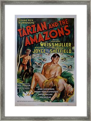 Tarzan And The Amazons Framed Print by Georgia Fowler