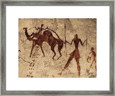 Tassili Najjer Rock Painting Algeria Framed Print by George Holton