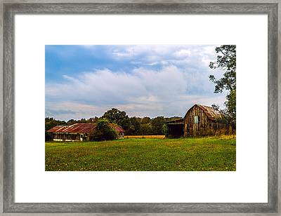 Tate Country Barns - Rural Landscape Framed Print by Barry Jones