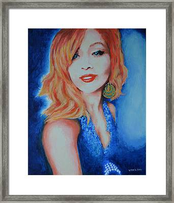 Tatiana With Pearls And Green Earring Framed Print by Victor Minca