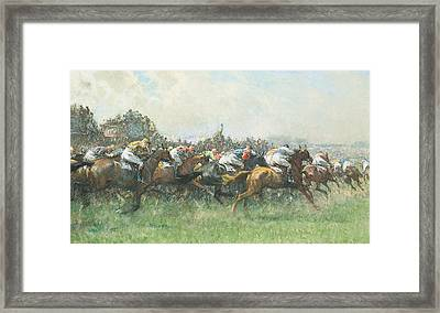 Tattenham Corner The Epsom Derby Framed Print by Gilbert Holiday