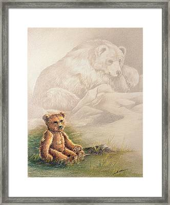 Framed Print featuring the drawing Tattered Bear by Judi Quelland