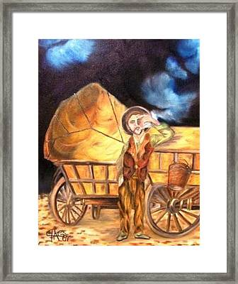 Framed Print featuring the painting Tattered Canvas Aka Romani Messiah by The GYPSY And DEBBIE