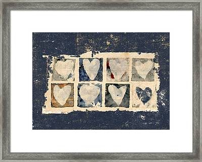 Tattered Hearts Framed Print