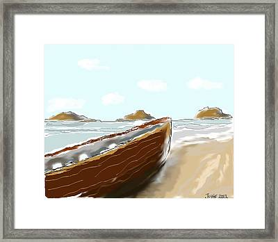 Framed Print featuring the painting Tattered Old Boat #2 by Jessica Wright