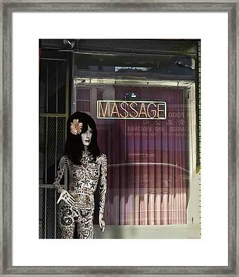 Tattoo And Massage Framed Print by Larry Butterworth