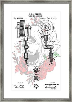 Tattoo Machine Patent Framed Print by Dan Sproul