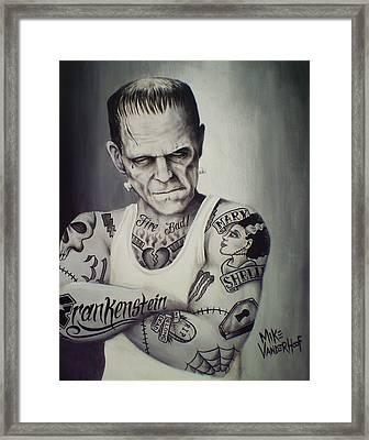 Tattooed Frankenstein By Mike Vanderhoof Framed Print by Mike Vanderhoof