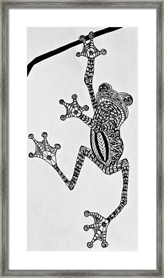 Tattooed Tree Frog - Zentangle Framed Print by Jani Freimann