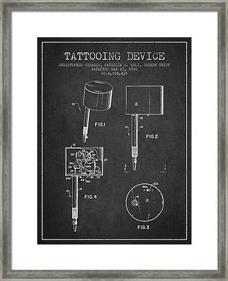 Tattooing Device Patent From 1980 - Charcoal Framed Print