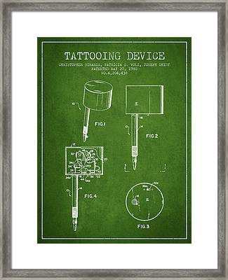 Tattooing Device Patent From 1980 - Green Framed Print