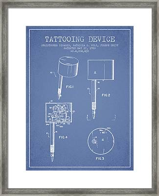 Tattooing Device Patent From 1980 - Light Blue Framed Print
