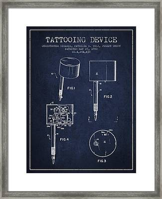 Tattooing Device Patent From 1980 - Navy Blue Framed Print