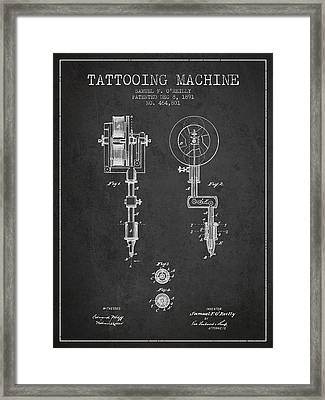 Tattooing Machine Patent From 1891 - Charcoal Framed Print by Aged Pixel